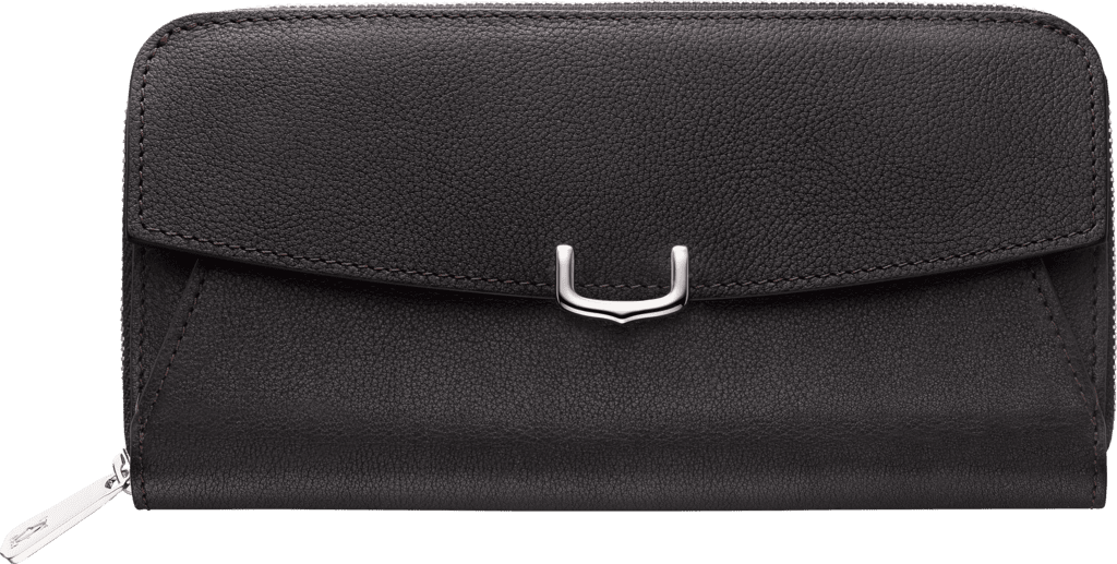 C de Cartier Small Leather Goods, zipped walletOnyx taurillon leather, palladium finish