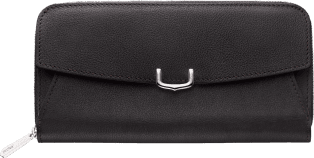 C de Cartier Small Leather Goods, zipped wallet Onyx taurillon leather, palladium finish