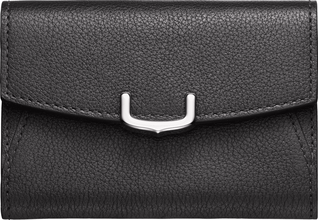 C de Cartier Small Leather Goods, business card holderOnyx taurillon leather, palladium finish