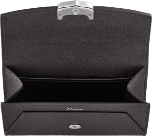 C de Cartier Small Leather Goods, business card holder Onyx taurillon leather, palladium finish