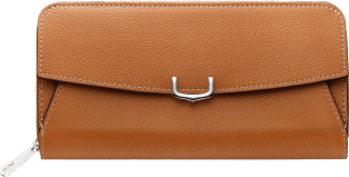 C de Cartier Small Leather Goods, zipped wallet Imperial topaz color taurillon leather, palladium finish