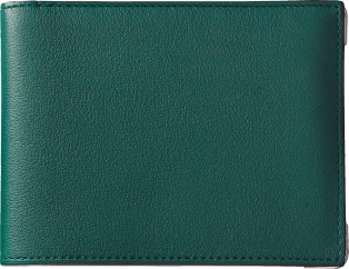 Must de Cartier Small Leather Goods, 6-credit card wallet Peacock-green calfskin, stainless steel finish