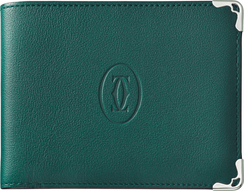 Must de Cartier Small Leather Goods, 6-credit card walletPeacock-green calfskin, stainless steel finish