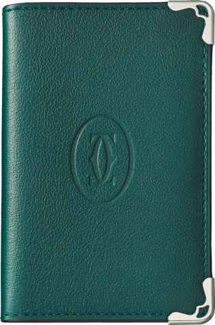 Must de Cartier Small Leather Goods, 4-credit card wallet Peacock-green calfskin, stainless steel finish