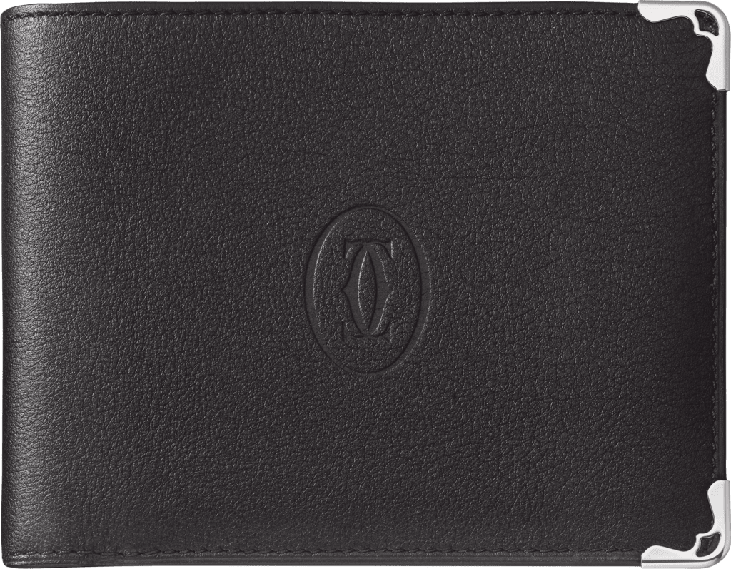 Must de Cartier Small Leather Goods, 8-credit card walletBlack calfskin, stainless steel finish
