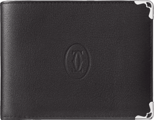 Must de Cartier Small Leather Goods, 8-credit card wallet Black calfskin, stainless steel finish