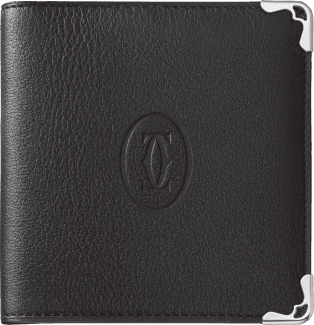 6-Credit Card Compact Wallet, Must de Cartier Black calfskin, stainless steel finish