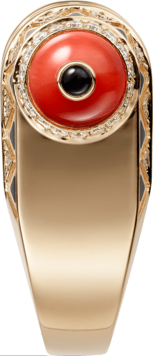 Geometry & Contrast ring Rose gold, coral, onyx, black lacquer, diamonds