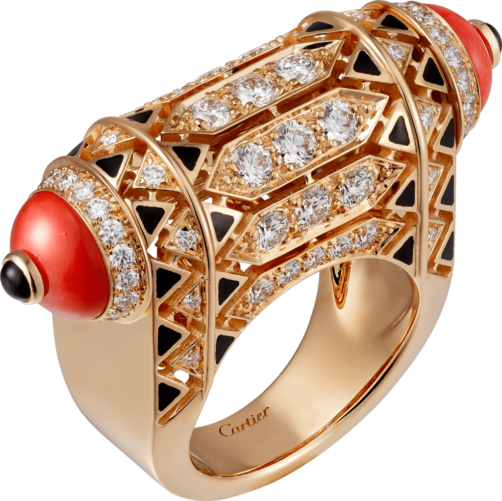Geometry & Contrast ringRose gold, coral, onyx, black lacquer, diamonds