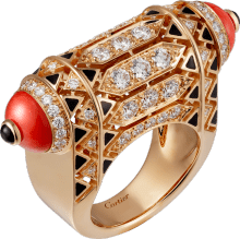 High Jewelry ring Pink gold, coral, onyx, black lacquer, diamonds