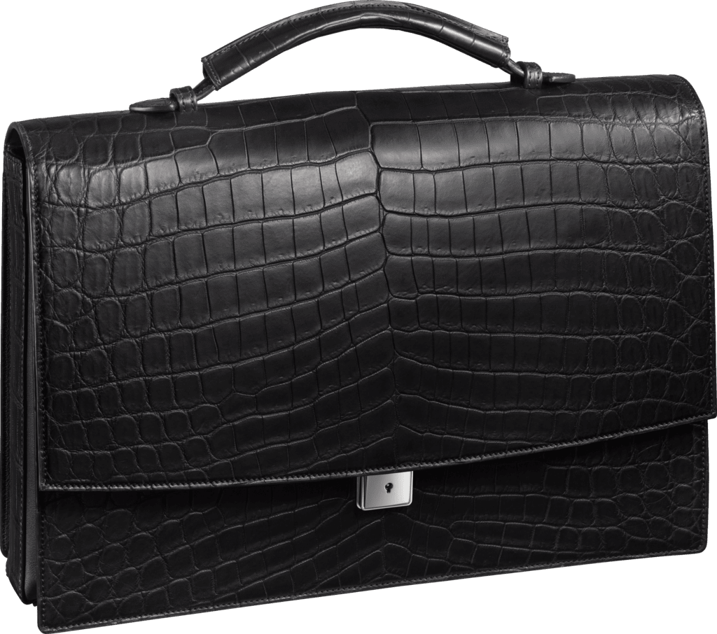 Must de Cartier bag, briefcase with three gussetsBlack niloticus crocodile skin, palladium finish