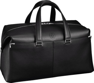 Must de Cartier bag, weekend bag Black calfskin, palladium finish