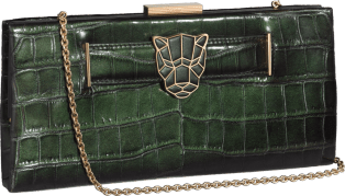 Panthère de Cartier clutch bag Iridescent green crocodile skin, golden finish