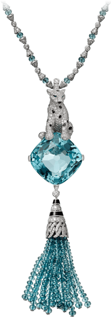 Panthère de Cartier High Jewelry necklaceWhite gold, aquamarine, tourmalines, emeralds, onyx, diamonds