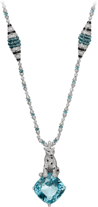 Panthère de Cartier High Jewelry necklace White gold, aquamarine, tourmalines, emeralds, onyx, diamonds
