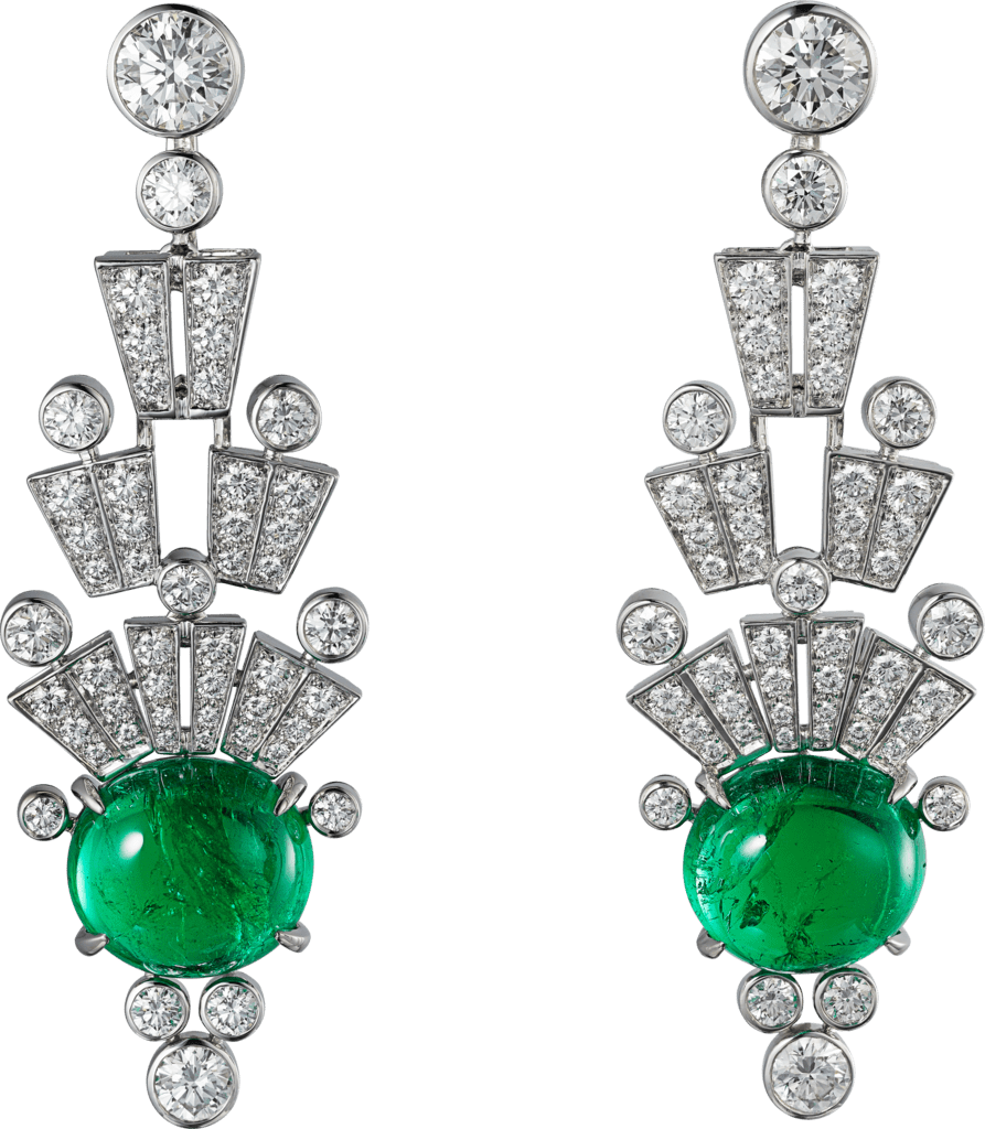 High Jewelry earringsWhite gold, emeralds, diamonds.