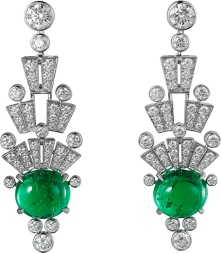 High Jewelry earrings White gold, emeralds, diamonds.