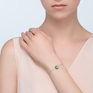Amulette de Cartier bracelet, XS model Pink gold, malachite, diamond
