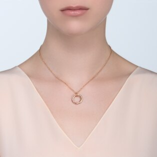 Trinity necklace Pink gold, sapphires