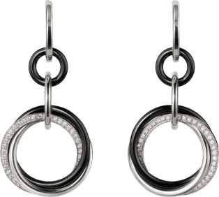 Trinity earrings White gold, ceramic, diamonds