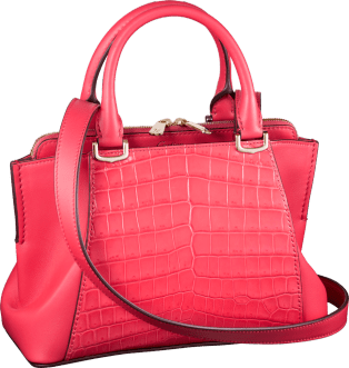 C de Cartier bag, mini model Coral-colored niloticus crocodile skin and calfskin, gold finish