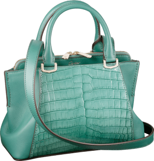 C de Cartier bag, mini model Green beryl-colored niloticus crocodile skin and calfskin, gold finish