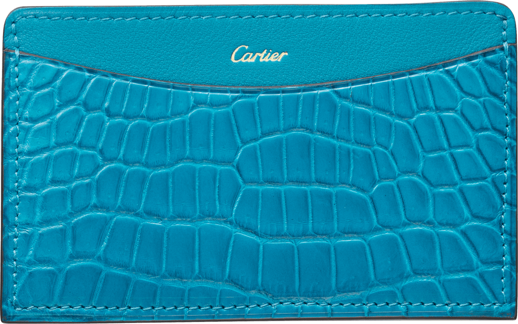C de Cartier Small Leather Goods, card holderBlue tourmaline-colored niloticus crocodile skin and calfskin, gold finish