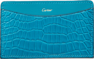 C de Cartier Small Leather Goods, card holder Blue tourmaline-colored niloticus crocodile skin and calfskin, gold finish