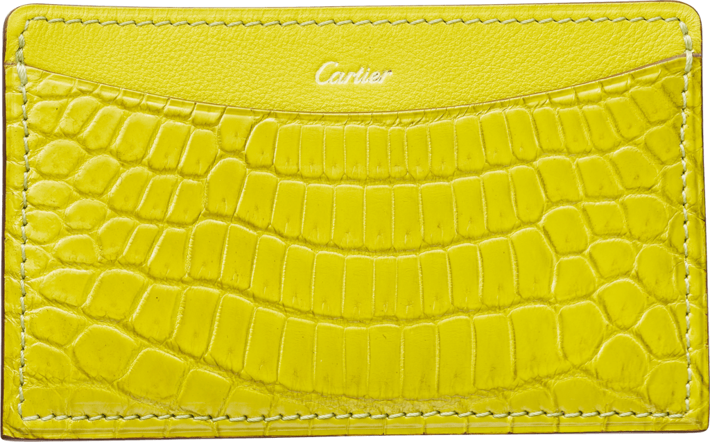 C de Cartier Small Leather Goods, card holderYellow magnesite-colored niloticus crocodile skin and calfskin, gold finish
