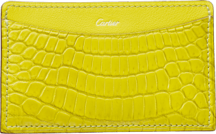 C de Cartier Small Leather Goods, card holder Yellow magnesite-colored niloticus crocodile skin and calfskin, gold finish