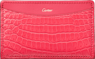 C de Cartier Small Leather Goods, card holder Coral-colored niloticus crocodile skin and calfskin, gold finish