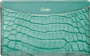 C de Cartier Small Leather Goods, card holder Green beryl-colored niloticus crocodile skin and calfskin, gold finish