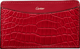 C de Cartier Small Leather Goods, card holder Ruby niloticus crocodile skin and calfskin, golden finish