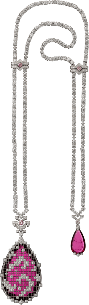 High Jewelry necklace White gold, rubellites, diamonds