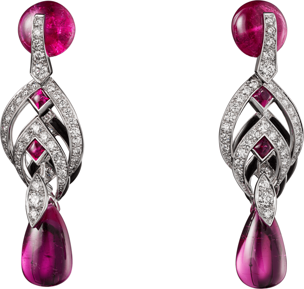 High Jewelry earringsWhite gold, rubellites, black lacquer, diamonds