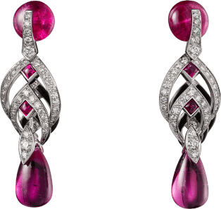 High Jewelry earrings White gold, rubellites, black lacquer, diamonds