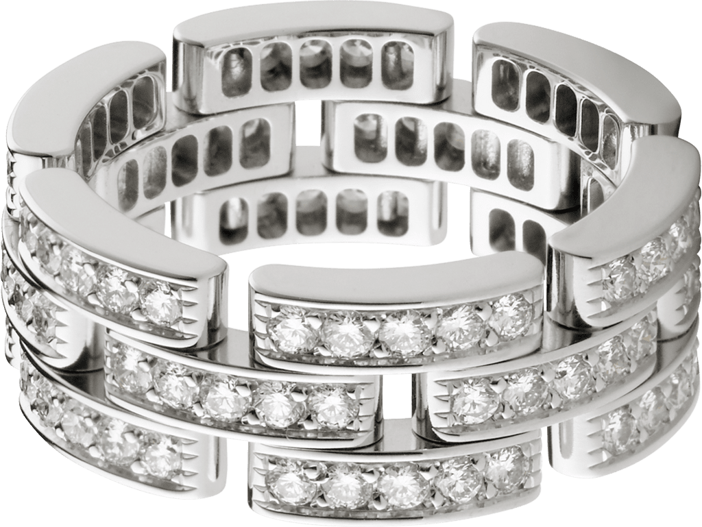 Maillon Panthère ring, 3 diamond-paved rowsWhite gold, diamonds