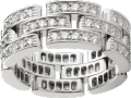 Maillon Panthère ring, 3 diamond-paved rows White gold, diamonds