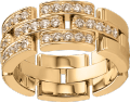 Maillon Panthère ring, 3 half diamond-paved rows Yellow gold, diamonds