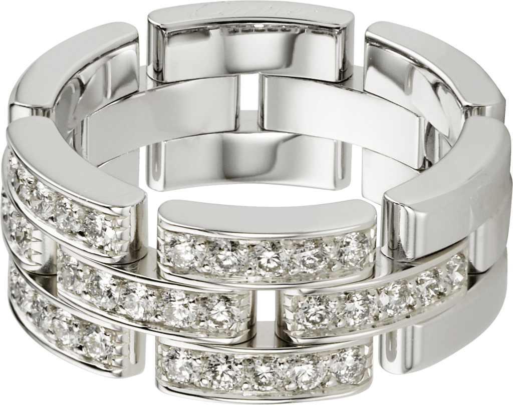 Maillon Panthère ring, 3 half diamond-paved rowsWhite gold, diamonds