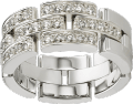 Maillon Panthère ring, 3 half diamond-paved rows White gold, diamonds