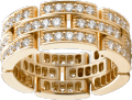 Maillon Panthère ring, 3 diamond-paved rows Yellow gold, diamonds