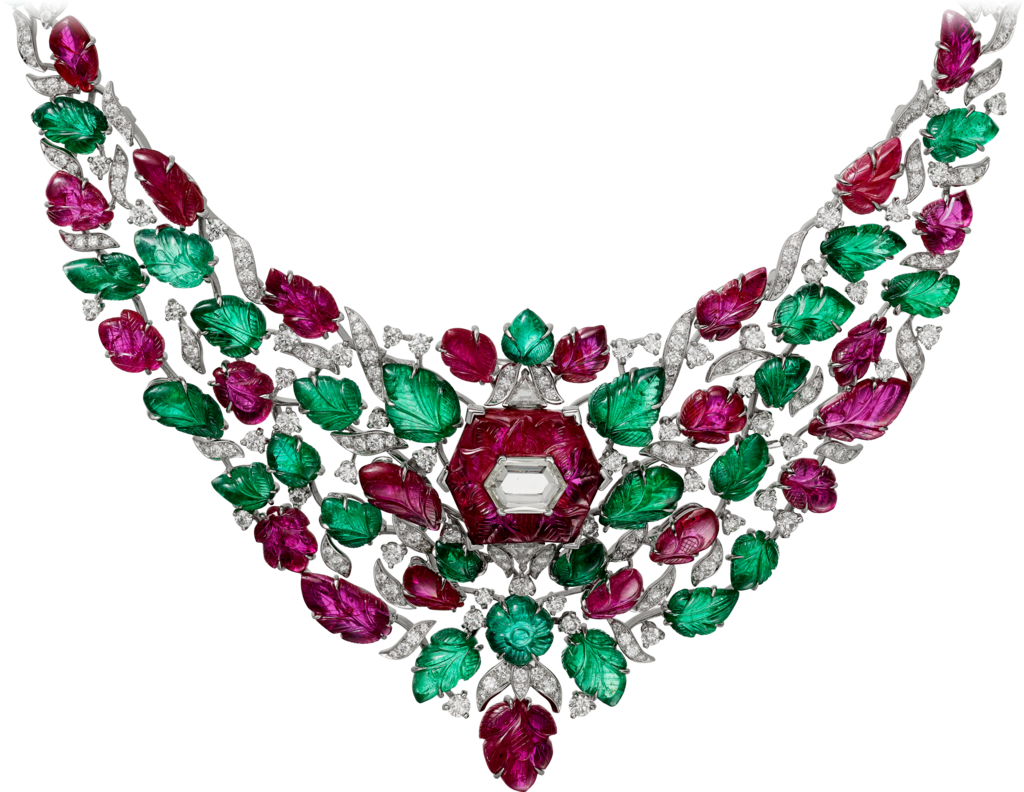 High Jewelry necklaceWhite gold, rubies, emeralds, diamonds