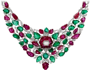 High Jewelry necklace White gold, rubies, emeralds, diamonds