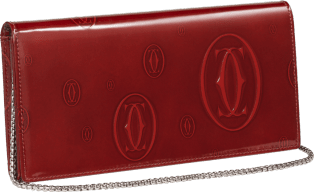 Happy Birthday Small Leather Goods, international wallet with chain Burgundy calfskin, palladium finish