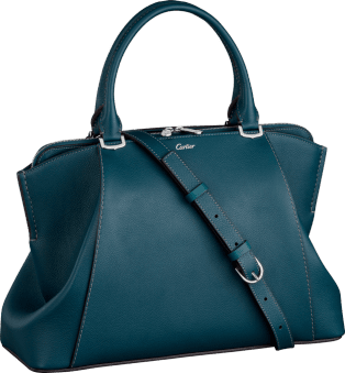 C de Cartier bag, small model Hawk eye-colored taurillon leather, palladium finish
