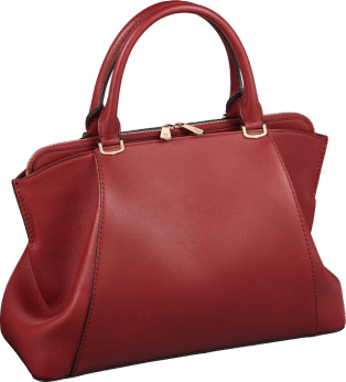 C de Cartier bag, small model Red spinel-colored taurillon leather, golden finish