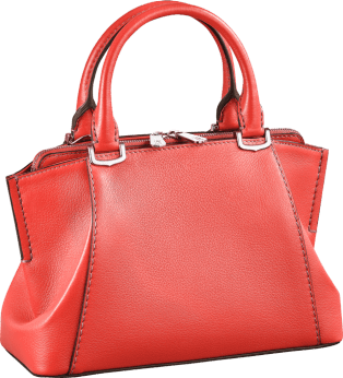 C de Cartier bag, mini model Coral color taurillon leather, palladium finish