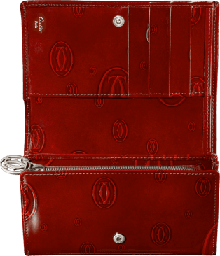 Happy Birthday Small Leather Goods, compact wallet Burgundy calfskin, palladium finish