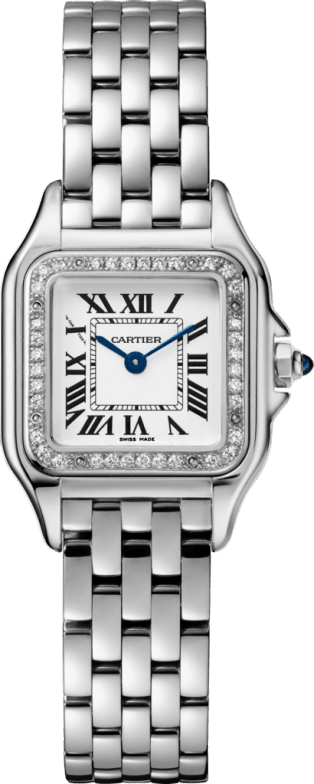 Panthère de Cartier watch Small model, steel, diamonds